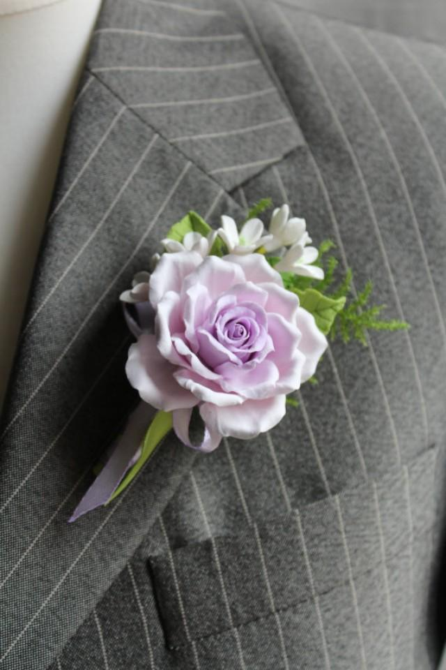 Polymer Clay Flower Buttonhole Boutonniere For Men