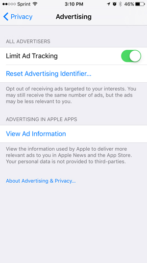Ad Tracking privacy Settings