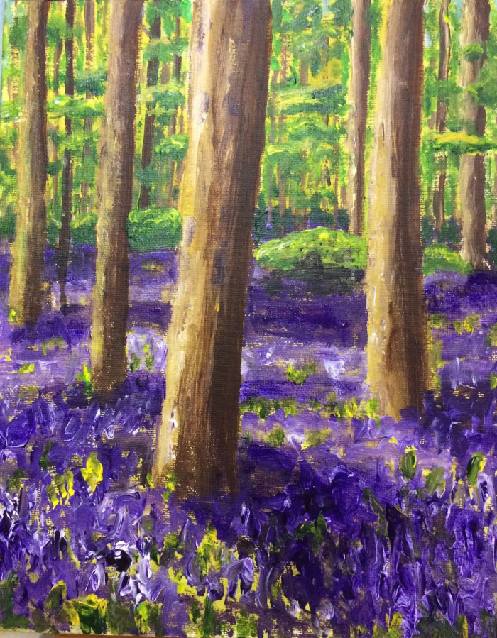 Bluebells, acrylic on canvas, 10 by 12 inches