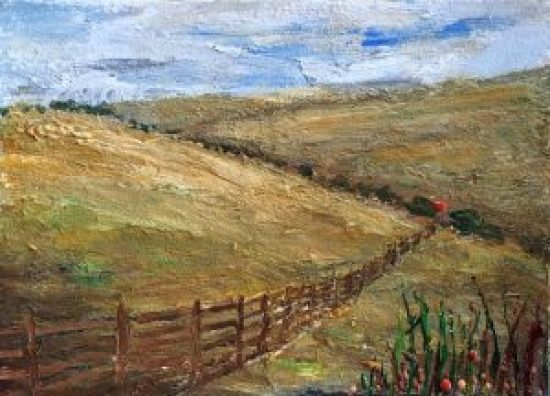 Into the Downs, encaustic on encaustic paper, 5 by 7 inches