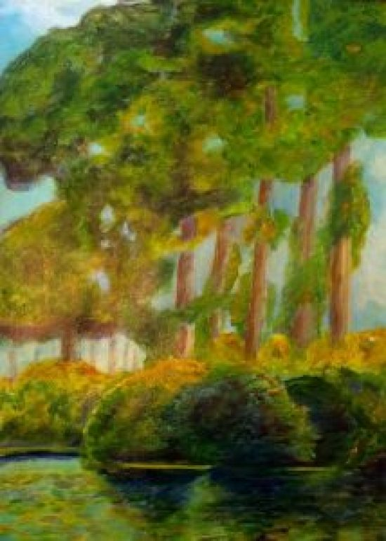 Poplars, Oil on canvas, 16 by 20 inches