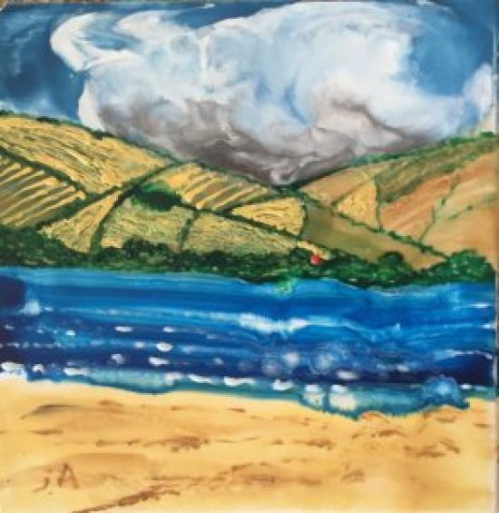 South Downs II, encaustic painting on canvas, 8 by 8 inches