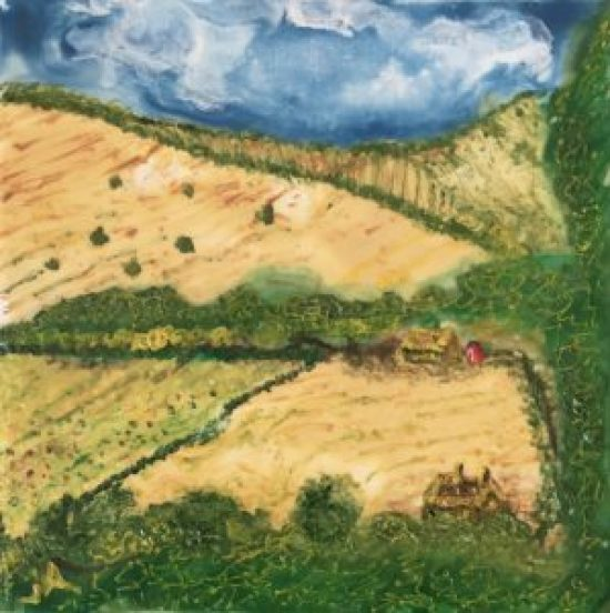 South Downs III, Encaustic on canvas, 8 by 8 inches
