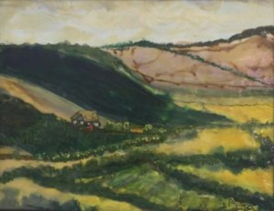 South Downs viewing the Seven Sisters, encaustic on board, 10 by 12 inches