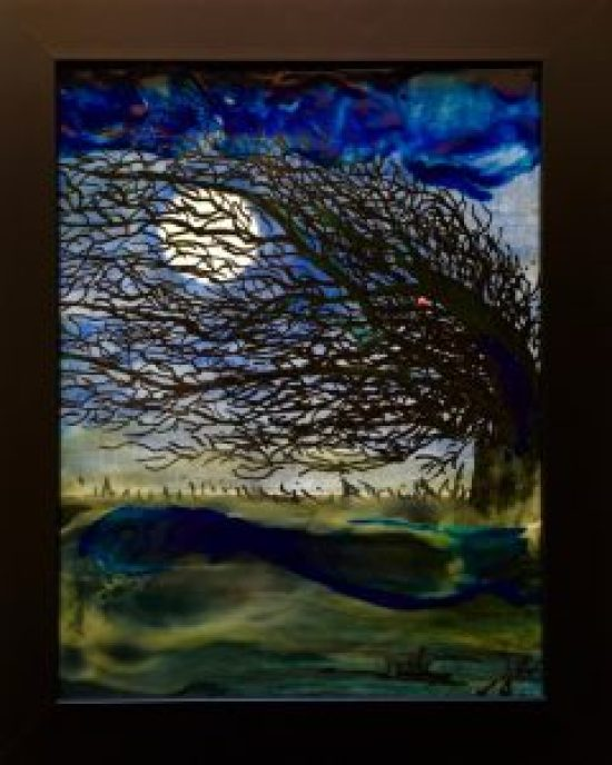 Windswept. encaustic on board, 10 by 12 inches