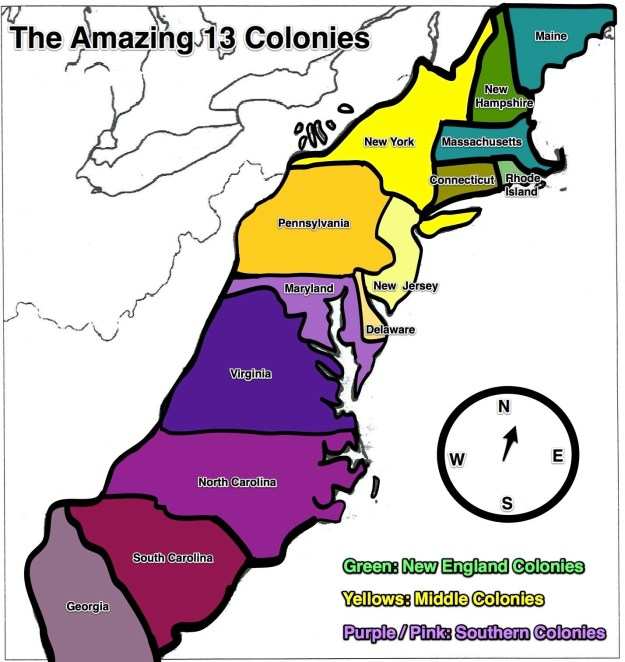 WOVH In The Colonies Special Event WOVH - Us map 13 colonies
