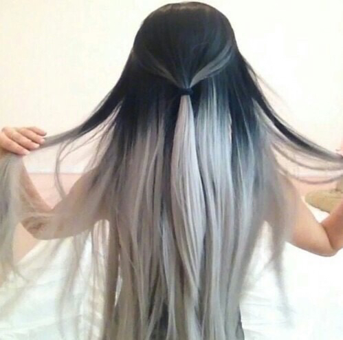 black hair ombre white image by lauralai on favim