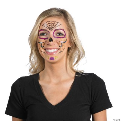 day of dead face tattoos temporary