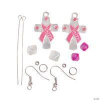 Pink Ribbon Cross Earrings Craft Kit - Oriental Trading ...
