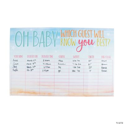 Baby Statistics Baby Shower Game Oriental Trading