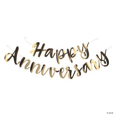 gold happy anniversary foil