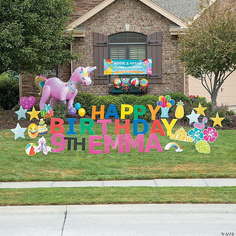 Multi Color Happy Birthday Yard Signs Oriental Trading