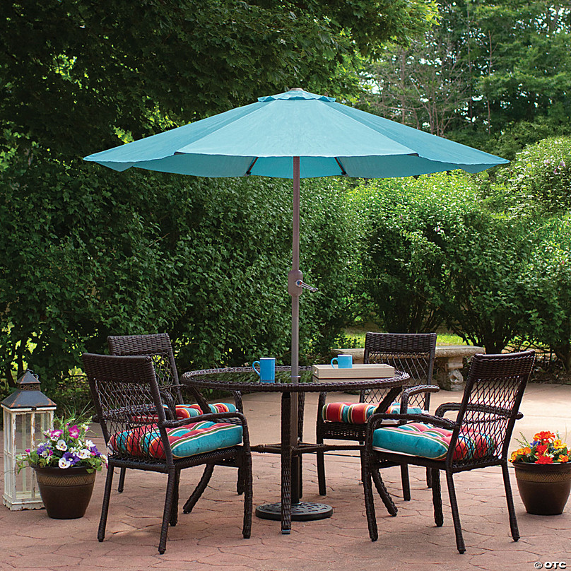 northlight 6 5 outdoor patio market umbrella with hand crank turquoise blue