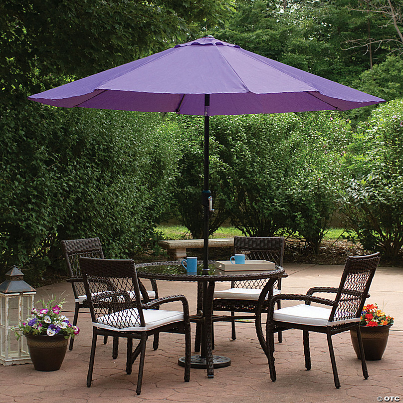 northlight 9ft outdoor patio market umbrella with hand crank and tilt purple