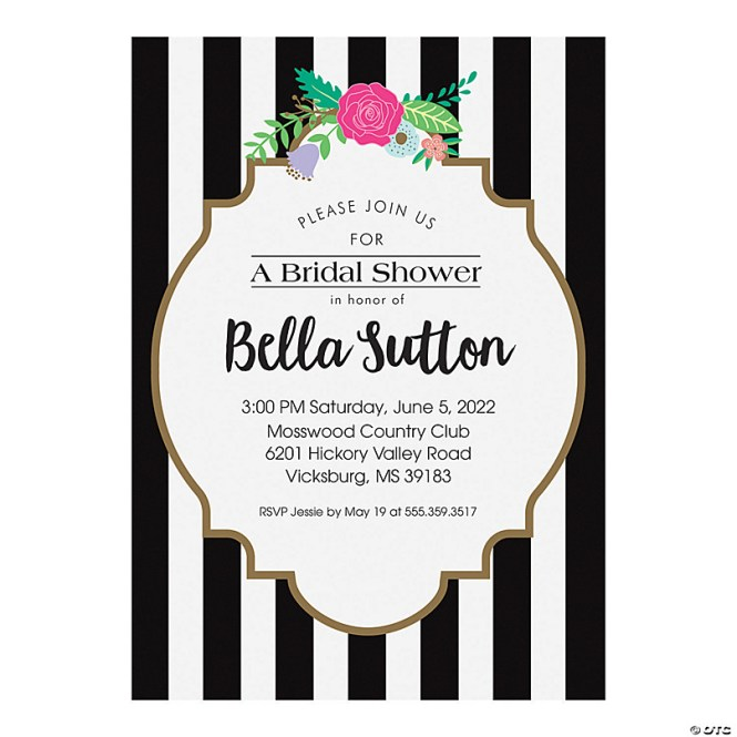 Black White Bridal Shower Invitations