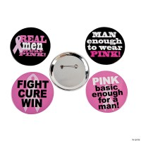 Breast Cancer Awareness Buttons For Men