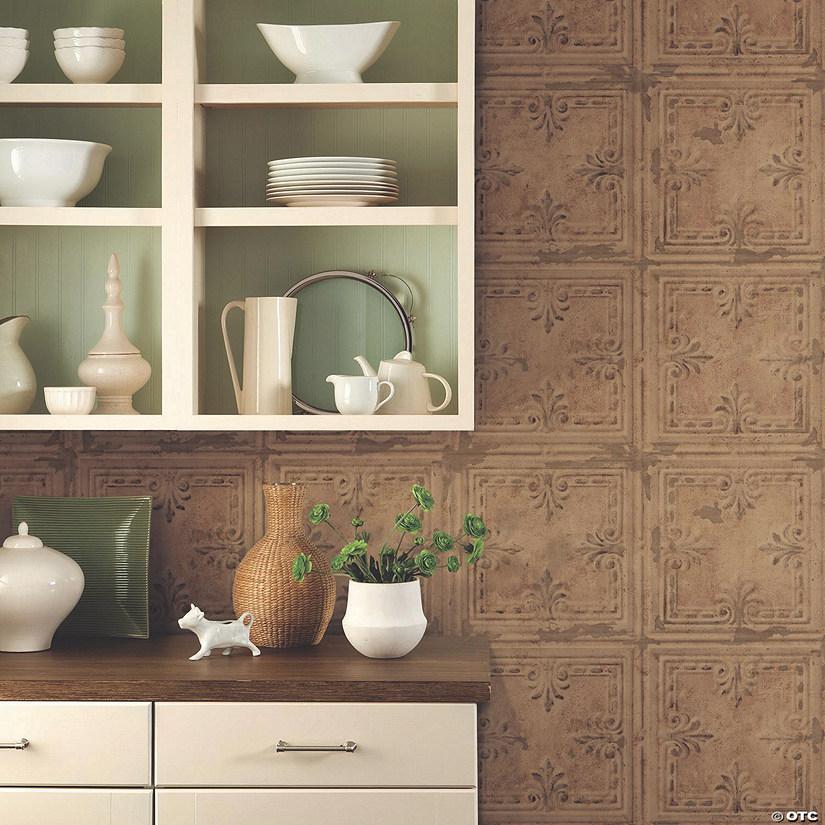 copper tin tile peel stick wallpaper