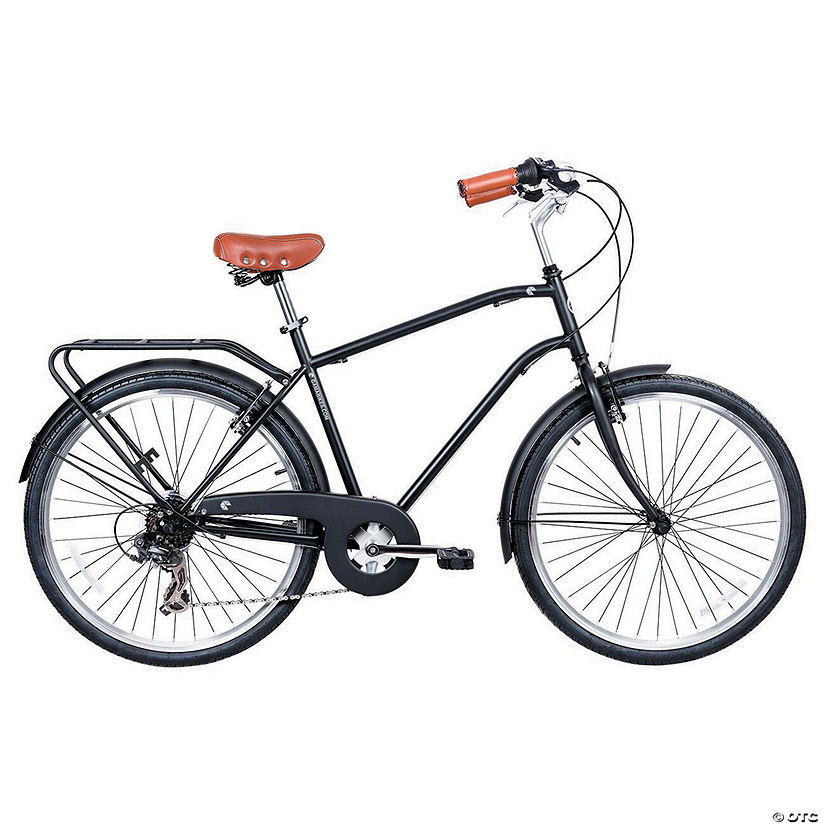 Men's 7-Speed Commuter Urban Hybrid Bicycle: Negra