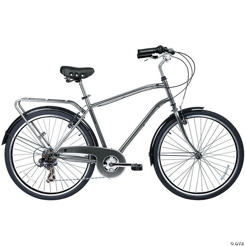 Men's 7-Speed Commuter Urban Hybrid Bicycle: Nickel