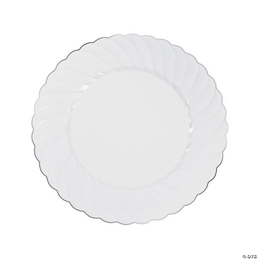 White Premium Plastic Dinner Plates with Silver