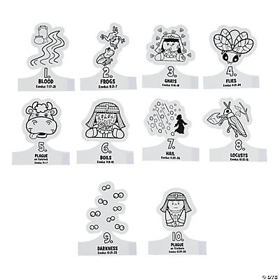 Color Your Own 10 Plagues Finger Puppets, Coloring Crafts