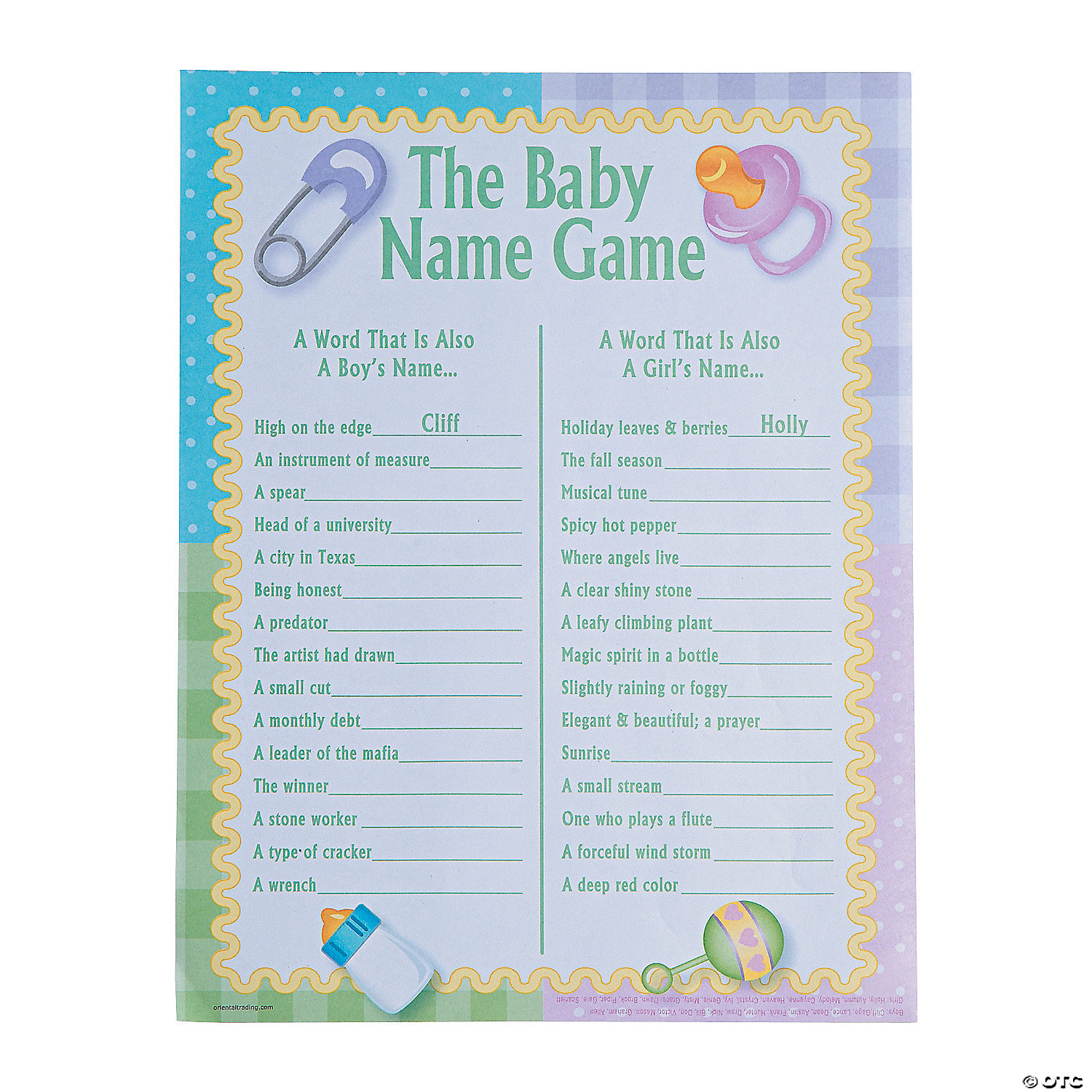baby names baby shower