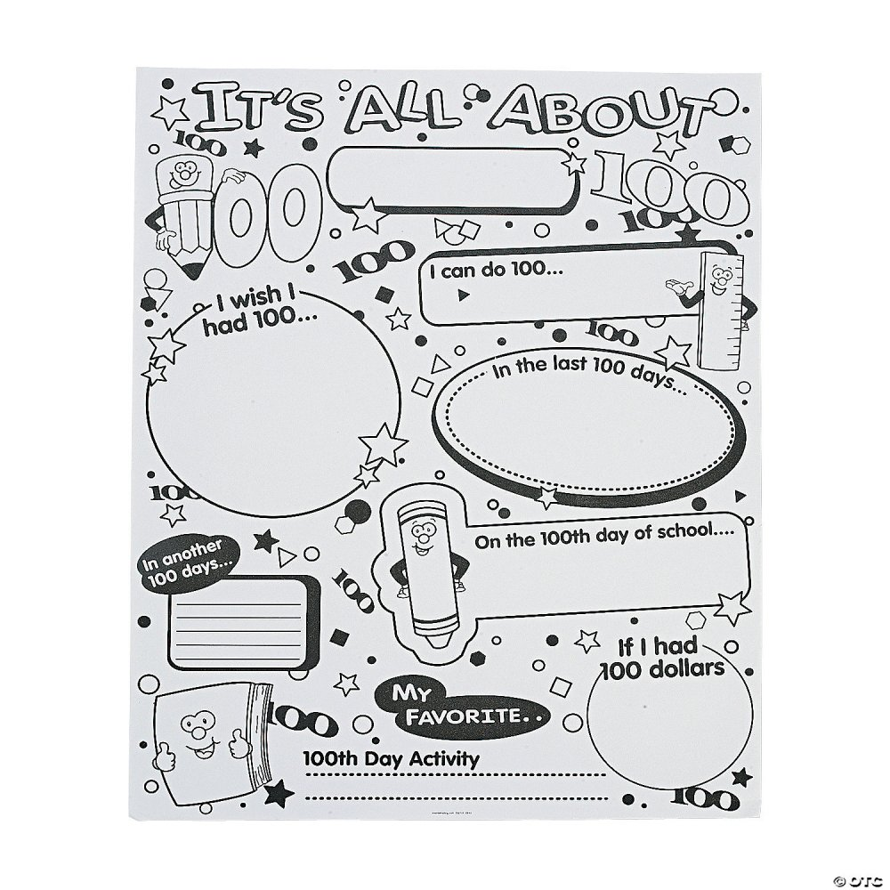 medium resolution of Color Your Own It's All About 100th Day of School Poster Set