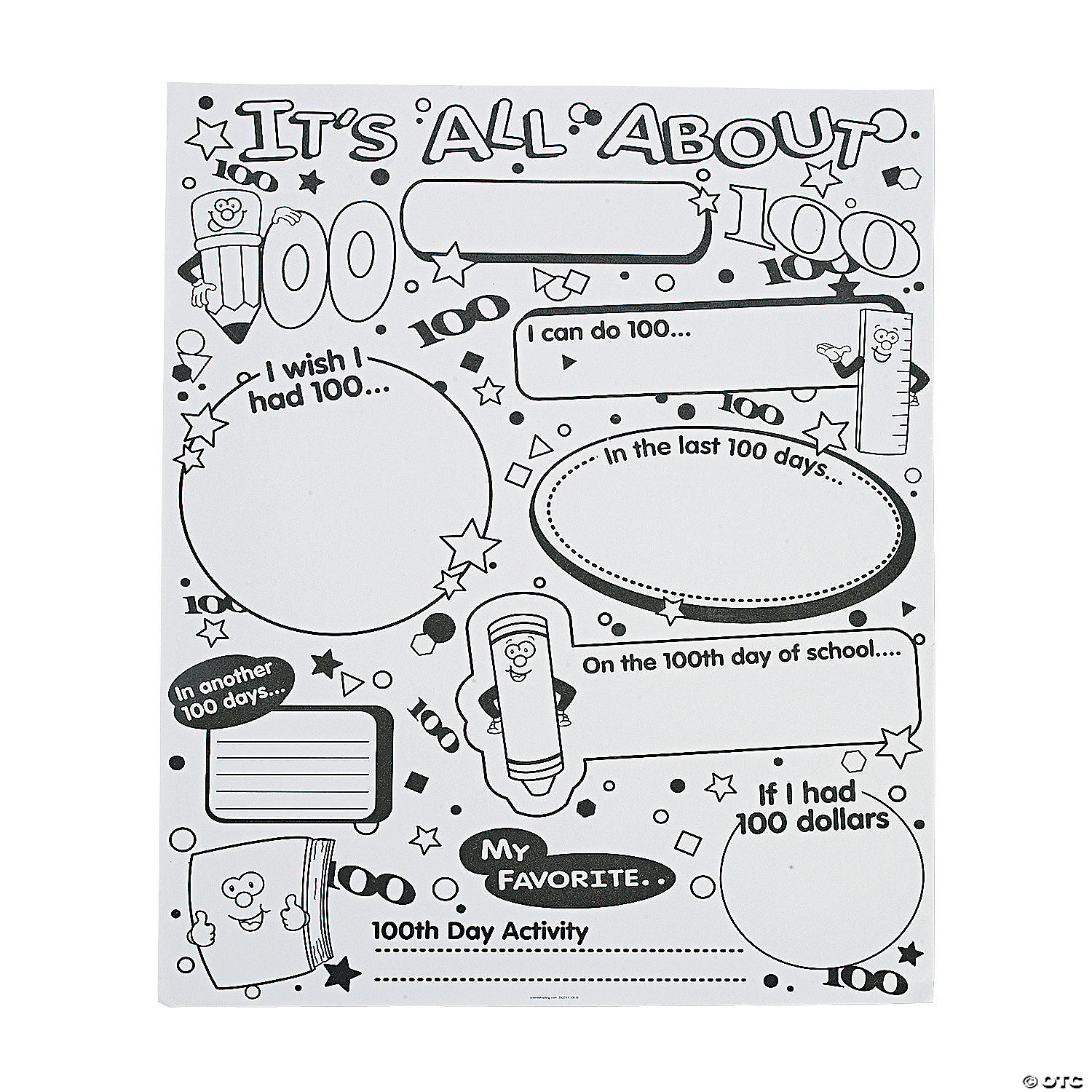 hight resolution of Color Your Own It's All About 100th Day of School Poster Set