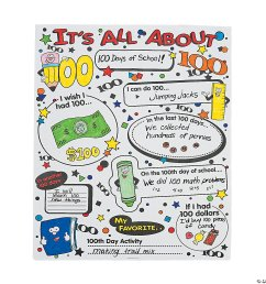 Color Your Own It's All About 100th Day of School Poster Set [ 1500 x 1500 Pixel ]