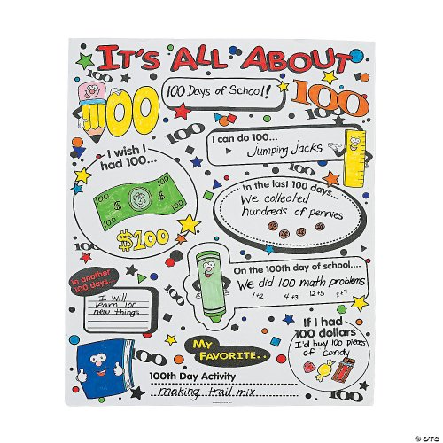 small resolution of Color Your Own It's All About 100th Day of School Poster Set