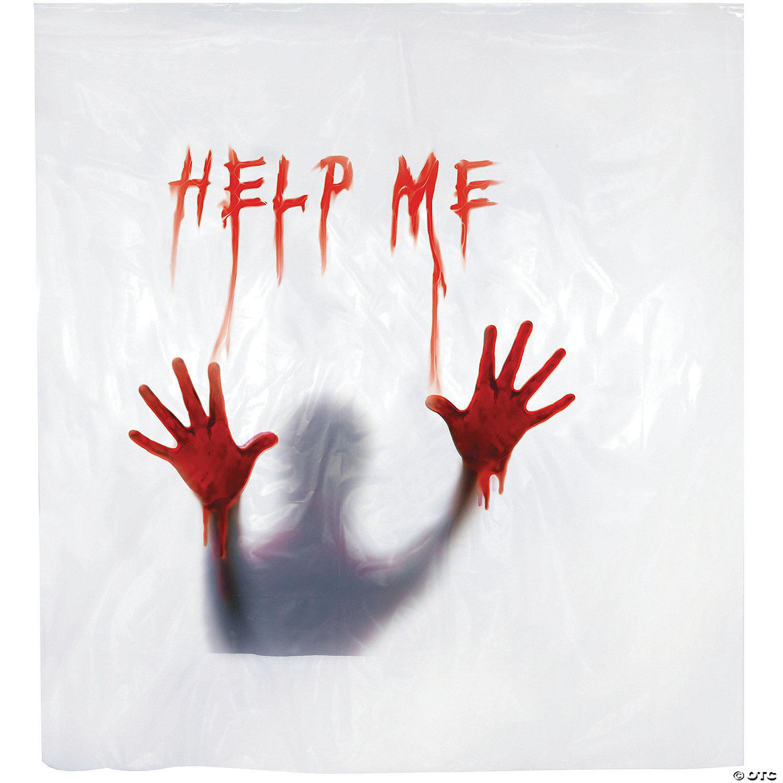 help me shower curtain halloween decoration
