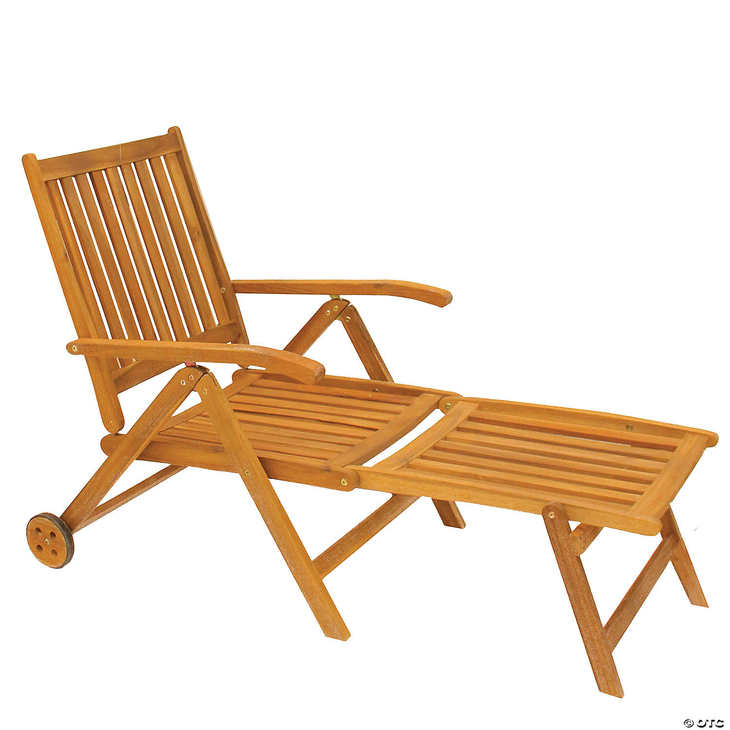northlight 55 brown acacia wood outdoor patio chaise lounge chair