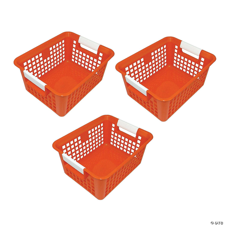 Tattle Book Basket Orange Set Of 3 Oriental Trading