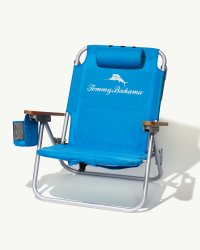 Solid-Blue Deluxe Backpack Beach Chair