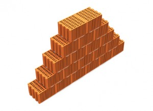 Mauer aus roten Ziegeln