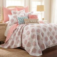 Coral Breeze Reversible Quilt in Coral - Bed Bath & Beyond