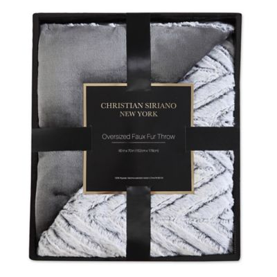 Christian Siriano Chevron Faux Fur Throw Blanket In Grey
