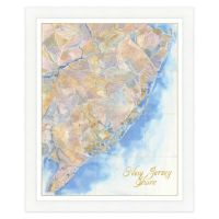 Jersey Shore Map Watercolor Wall Art - Bed Bath & Beyond