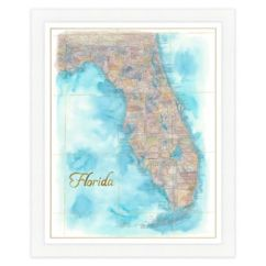 Cost Of Outdoor Kitchen Cart With Butcher Block Top Florida Map Watercolor Wall Art - Bed Bath & Beyond