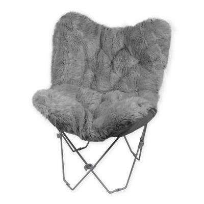 Buy Faux Fur Butterfly Chair in Grey from Bed Bath  Beyond