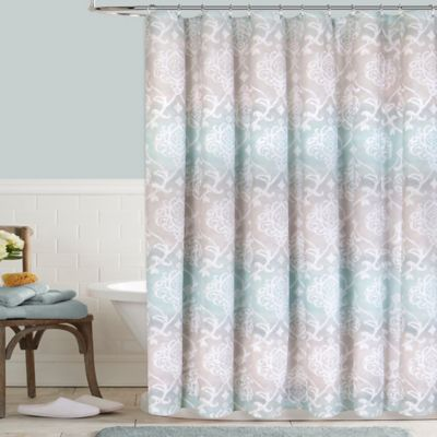 Colordrift Waterolor Damask Shower Curtain  Bed Bath  Beyond