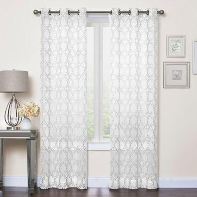 Callahan Embroidered Grommet Top Sheer Window Curtain Panel Pair  Bed Bath  Beyond