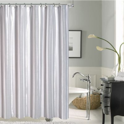 Carlton Striped Shower Curtain in Silver  Bed Bath  Beyond