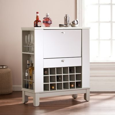 Southern Enterprises Mirage Mirrored Fold Out WineBar Cabinet In Silver Bed Bath Amp Beyond