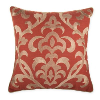 Buy Damask Square Throw Pillow in Rust from Bed Bath  Beyond