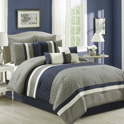 Patchwork 8 Piece Comforter Set In NavyGrey Bed Bath