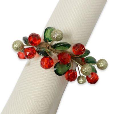 Holiday Sparkle Napkin Ring Set Of 4 Bed Bath Amp Beyond