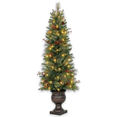 5 Foot Traditional Potted Pre Lit Artificial Christmas
