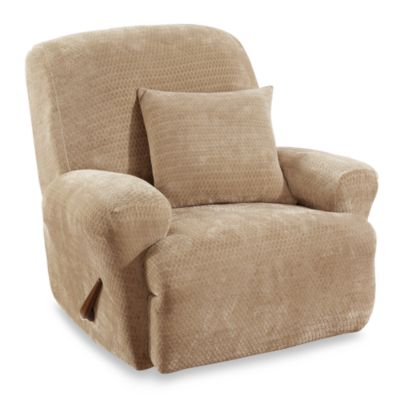 sure fit chair covers bed bath and beyond rentals nyc buy fit® stretch royal diamond recliner slipcover in cream from &