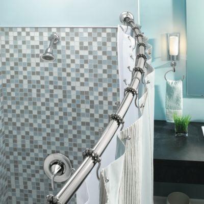 Moen Adjustable Curved Chrome Shower Rod  Bed Bath  Beyond